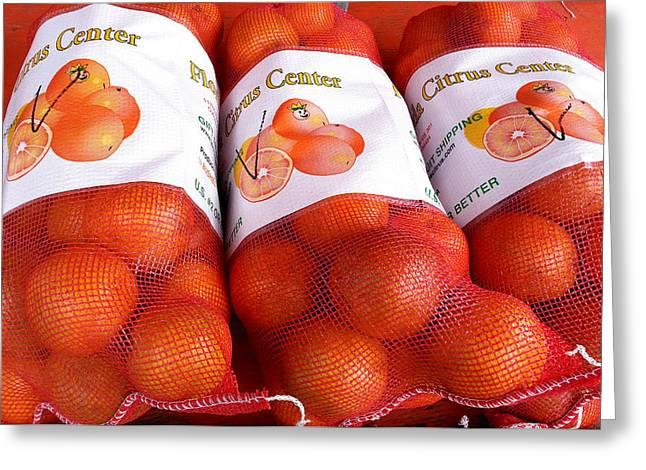 Tangerine Greeting Cards - Florida Oranges Greeting Card by Karen Rhodes