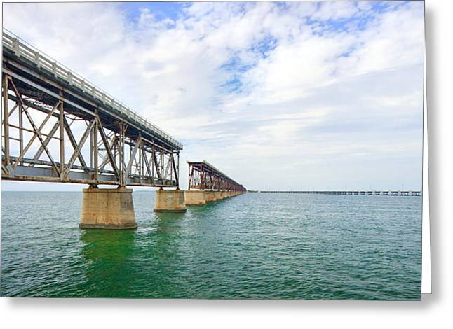 Ocean Panorama Greeting Cards - Florida Overseas Railway bridge near Bahia Honda State Park Greeting Card by Adam Romanowicz