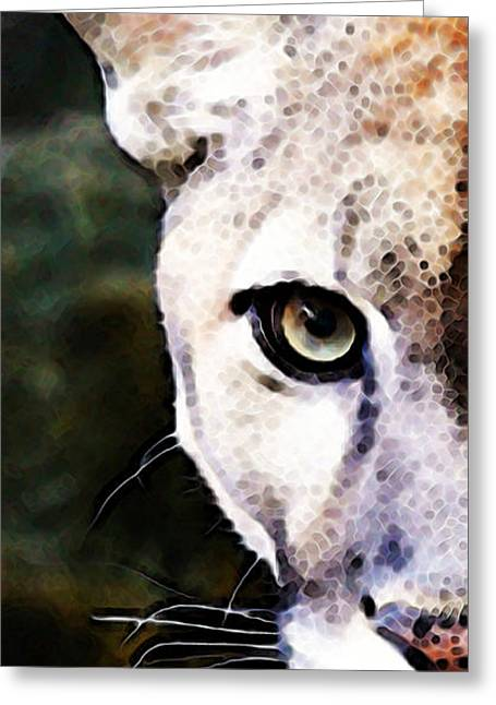 Wall Framed Prints Digital Greeting Cards - Florida Panther Art - Hungry Greeting Card by Sharon Cummings
