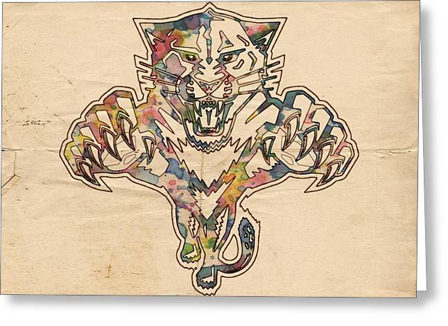 Florida Panthers Hockey Poster Greeting Card by Florian Rodarte