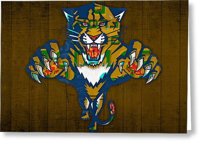 Florida Mixed Media Greeting Cards - Florida Panthers Hockey Team Retro Logo Vintage Recycled Sunshine State License Plate Art Greeting Card by Design Turnpike