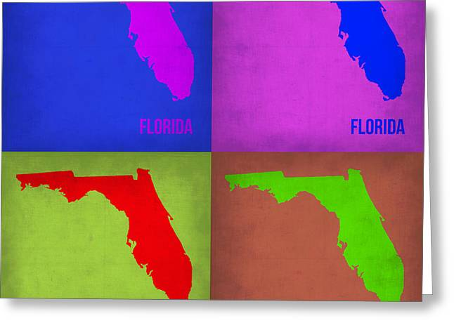 Florida Art Greeting Cards - Florida Pop Art Map 1 Greeting Card by Naxart Studio