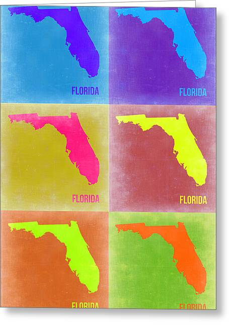 Florida Art Greeting Cards - Florida Pop Art Map 2 Greeting Card by Naxart Studio