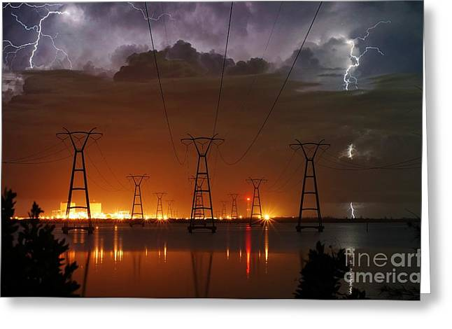 Lightning Photographer Greeting Cards - Florida Power and Lightning Greeting Card by Lynda Dawson-Youngclaus