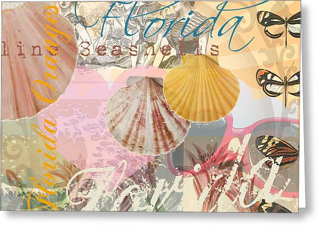 Seashell Picture Digital Greeting Cards - Florida Seashells Collage Greeting Card by Mary Hubley