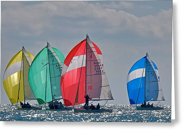 Sailboat Ocean Greeting Cards - Florida Spinnakers Greeting Card by Steven Lapkin
