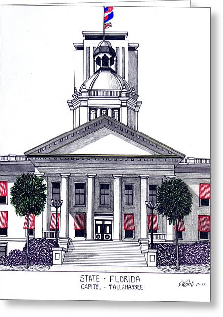 Pen And Ink Framed Prints Greeting Cards - Florida State Capitol Greeting Card by Frederic Kohli