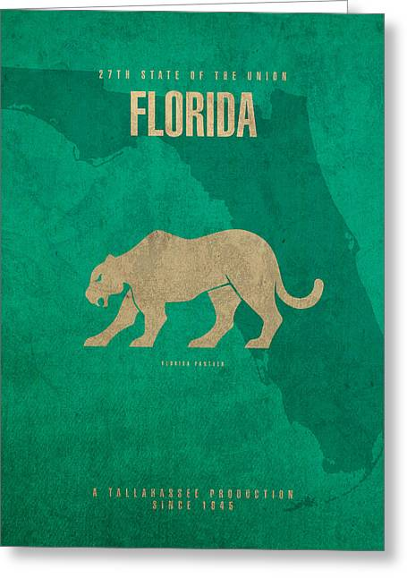 Florida Mixed Media Greeting Cards - Florida State Facts Minimalist Movie Poster Art  Greeting Card by Design Turnpike