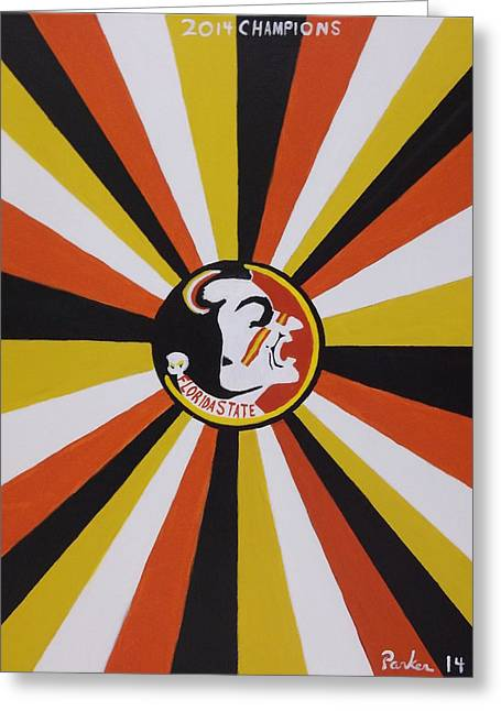 Bcs Greeting Cards - Florida State Football Greeting Card by Don Parker