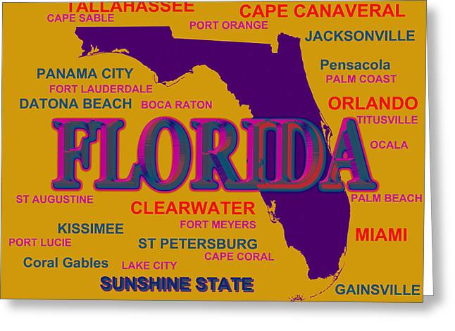 Panama City Greeting Cards - Florida State Pride Map Silhouette  Greeting Card by Keith Webber Jr