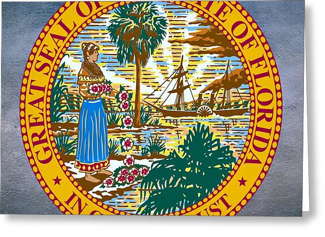 Florida House Greeting Cards - Florida State Seal Greeting Card by Movie Poster Prints