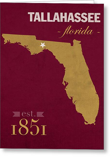 Town Mixed Media Greeting Cards - Florida State University Seminoles Tallahassee Florida Town State Map Poster Series No 039 Greeting Card by Design Turnpike