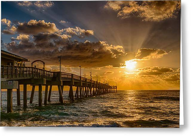 Ocean Landscape Greeting Cards - Florida Sunrise at Dania Beach Pier Greeting Card by Donald Spencer