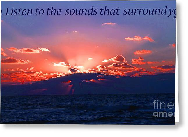 Ocean Images Greeting Cards - Florida Sunset Beyond the Ocean - Shh Greeting Card by Gena Weiser