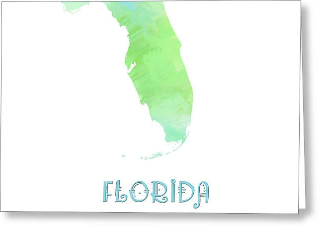 Florida - Sunshine State - Map - State Phrase - Geology Greeting Card by Andee Design
