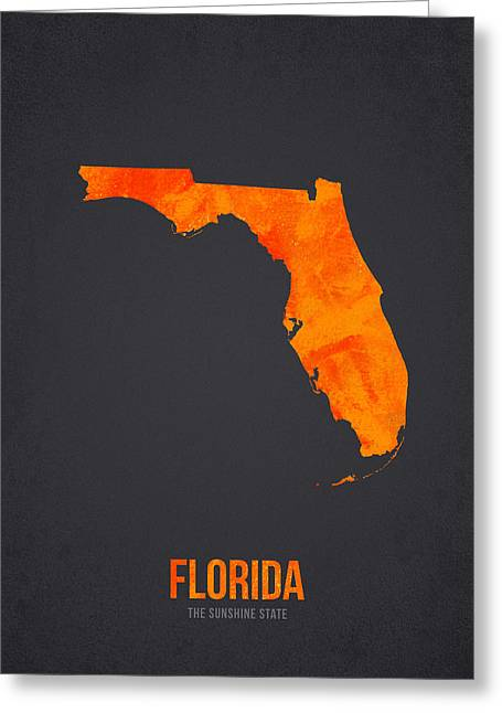 Jacksonville Mixed Media Greeting Cards - Florida The Sunshine State Greeting Card by Aged Pixel