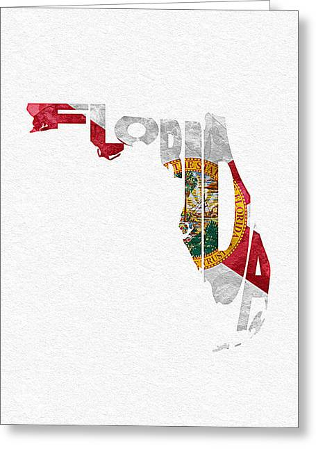 Usa Flag Pastels Greeting Cards - Florida Typographic Map Flag Greeting Card by Ayse Deniz