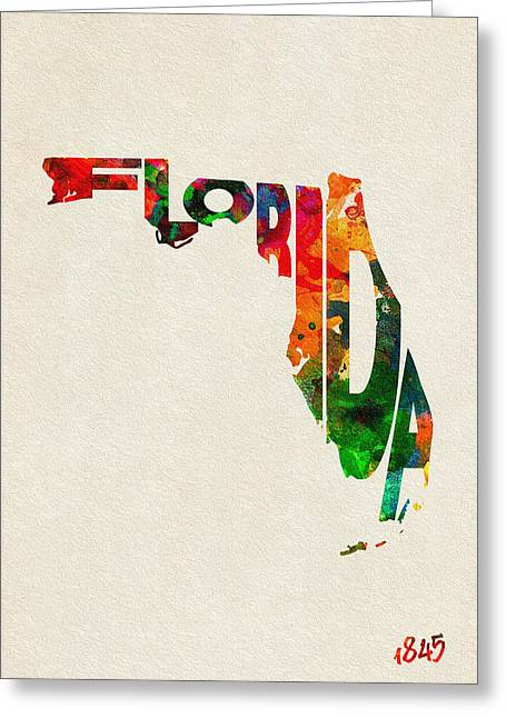 Jacksonville Greeting Cards - Florida Typographic Watercolor Map Greeting Card by Ayse Deniz