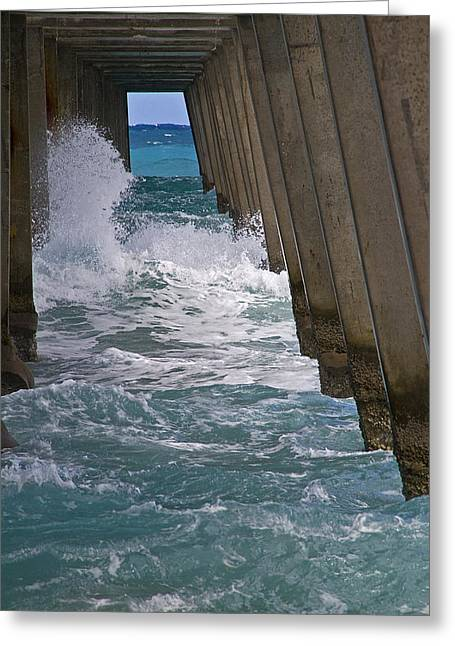 Florida Greeting Cards - Florida Under the Pier Greeting Card by Alida Thorpe