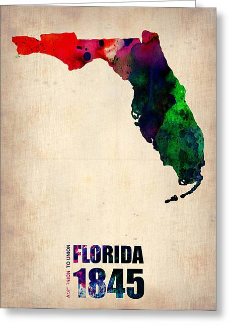 Florida Art Greeting Cards - Florida Watercolor Map Greeting Card by Naxart Studio
