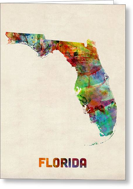 Jacksonville Florida Greeting Cards - Florida Watercolor Map Greeting Card by Michael Tompsett