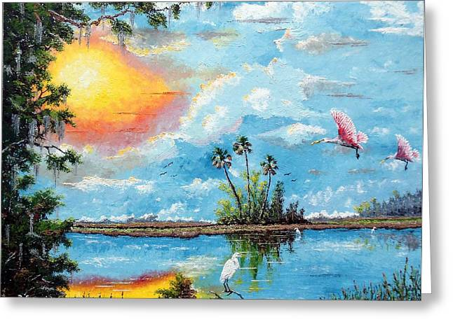 Saw Mixed Media Greeting Cards - Florida Wilderness Oil using Knife Greeting Card by Riley Geddings