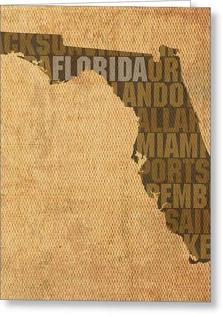 Florida Art Greeting Cards - Florida Word Art State Map on Canvas Greeting Card by Design Turnpike