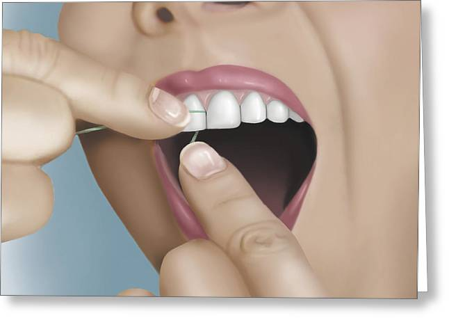 Images Of Woman Greeting Cards - Flossing Between Front Teeth Greeting Card by TriFocal Communications