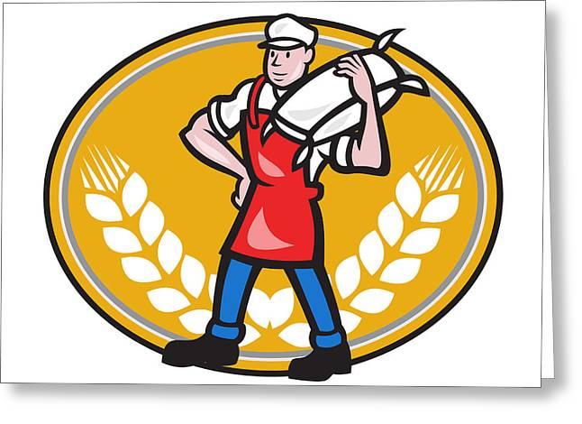 Flour Sack Greeting Cards - Flour Miller Carry Sack Wheat Oval Greeting Card by Aloysius Patrimonio