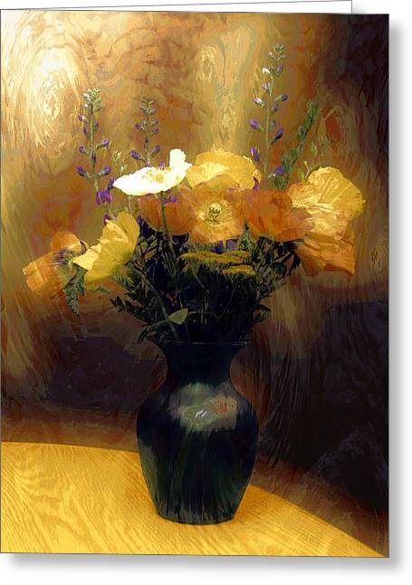 Vase Of Flowers Mixed Media Greeting Cards - Flourish  Greeting Card by Aaron Berg