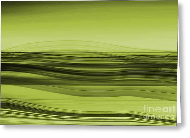 Hannes Cmarits Digital Greeting Cards - Flow - Green Greeting Card by Hannes Cmarits