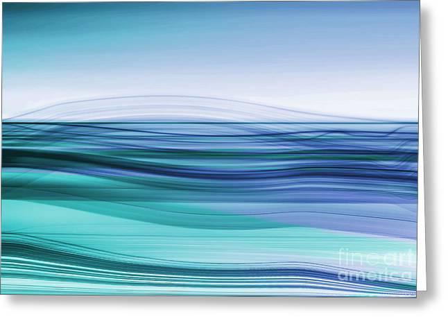 Hannes Cmarits Digital Greeting Cards - Flow - Cyan Blue Greeting Card by Hannes Cmarits