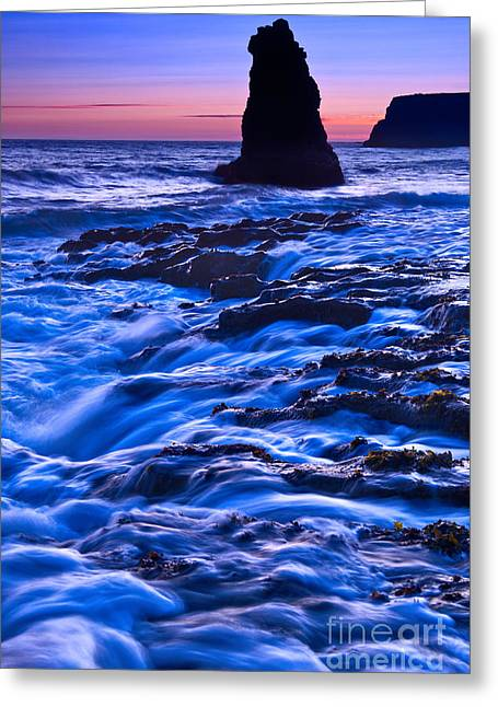 Ocean Vistas Greeting Cards - Flow - Dramatic sunset view of a sea stack in Davenport Beach Santa Cruz. Greeting Card by Jamie Pham