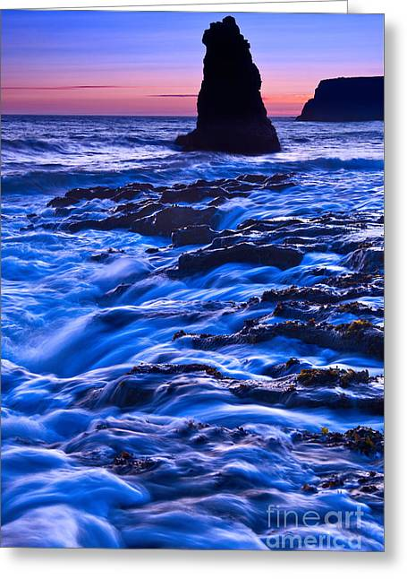 Monolith Greeting Cards - Flow - Dramatic sunset view of a sea stack in Davenport Beach Santa Cruz. Greeting Card by Jamie Pham