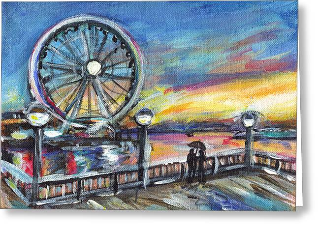 Amazing Sunset Paintings Greeting Cards - Flow of Life Greeting Card by Angie  Ketelhut