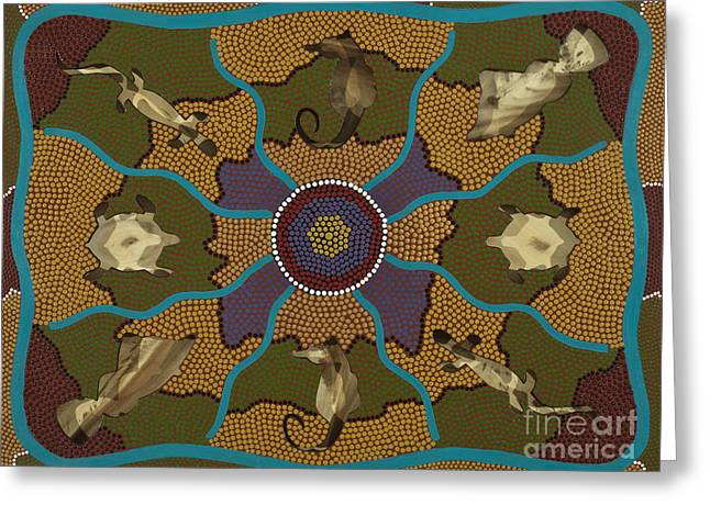 Aboriginal Mixed Media Greeting Cards - Flow of Life Greeting Card by Clifford Madsen
