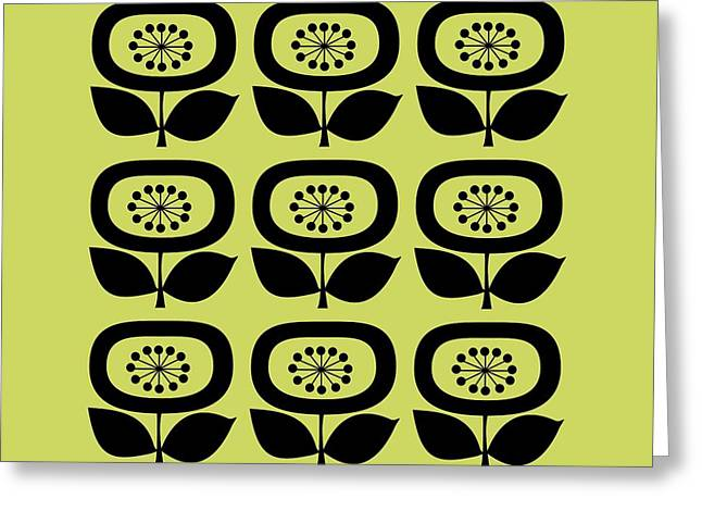 Avocado Green Greeting Cards - Flower 1 on Avocado Pillow Greeting Card by Donna Mibus