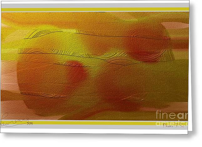 Gold Lime Green Greeting Cards - Flower 373c Greeting Card by Lawrence Nusbaum