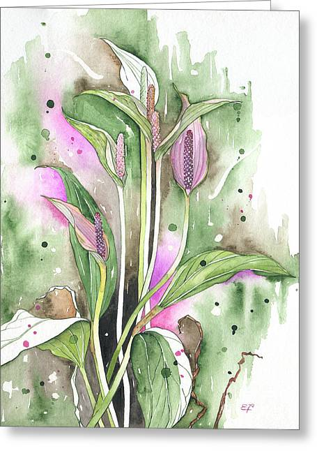 Fineartamerica Greeting Cards - Flower Anthurium 03 Elena Yakubovich Greeting Card by Elena Yakubovich