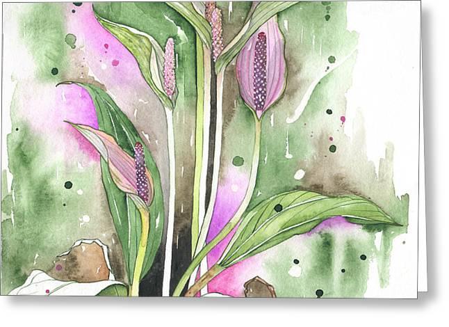 Flower Anthurium 03 Elena Yakubovich Greeting Card by Elena Yakubovich