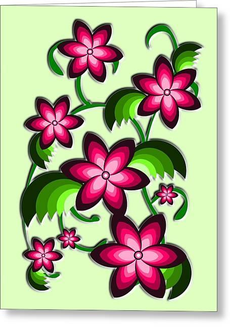 Pink Flower Prints Mixed Media Greeting Cards - Flower Arrangement Greeting Card by Anastasiya Malakhova