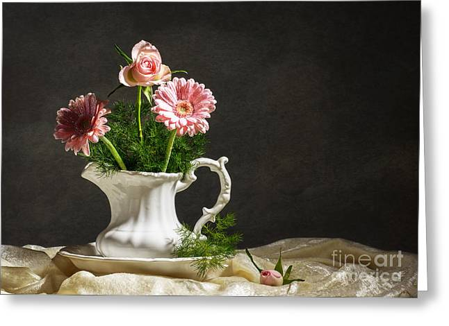 Aster Greeting Cards - Flower Arrangement Greeting Card by Amanda And Christopher Elwell