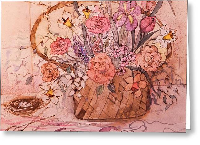 Best Seller Greeting Cards - Flower Basket II Greeting Card by Anna Sandhu Ray
