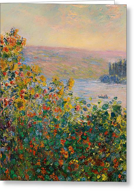 Vetheuil Greeting Cards - Flower Beds at Vetheueil Greeting Card by Claude Monet
