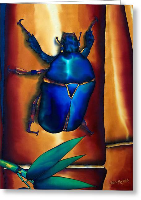Fiber Art Tapestries - Textiles Greeting Cards - Flower Beetle and Bamboo Greeting Card by Daniel Jean-Baptiste