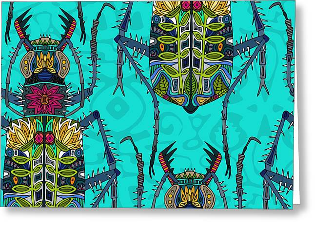 Flower Beetle Turquoise Greeting Card by Sharon Turner