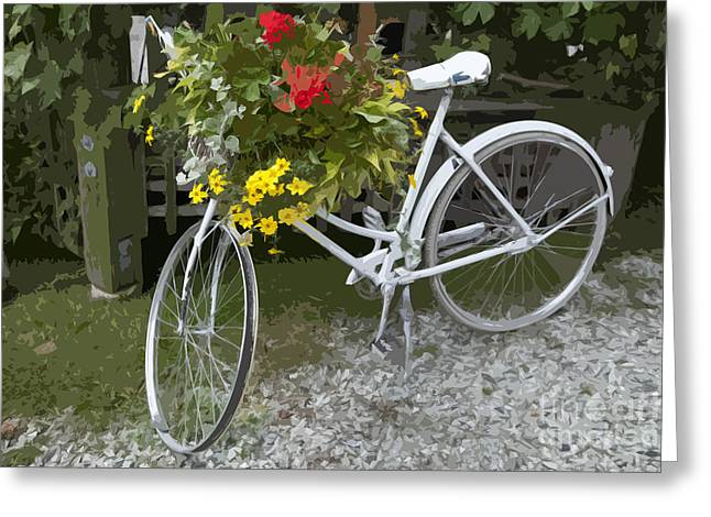 Mechanism Photographs Greeting Cards - Flower Bike Greeting Card by Graham Foulkes