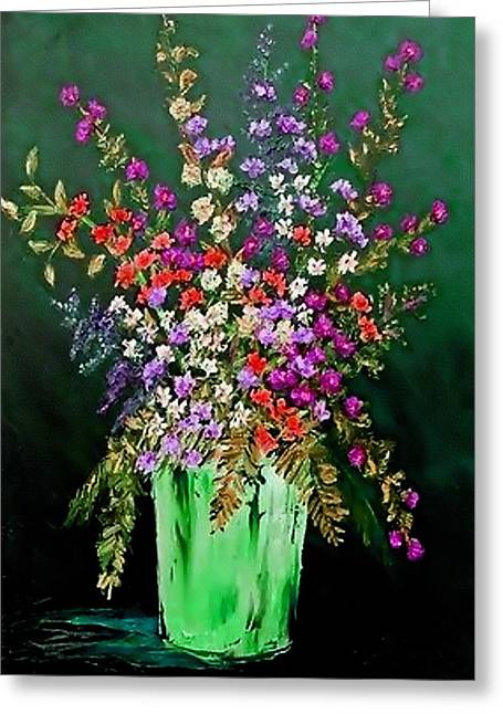 Abstract Digital Pastels Greeting Cards - Flower Bouquet Catus 1 no 2.1  V b Greeting Card by Gert J Rheeders
