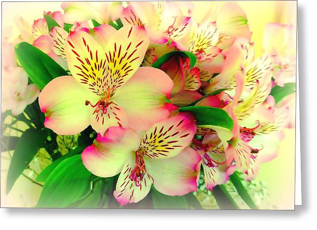 Lily Of The Incas Greeting Cards - Flower Bouquet in Pink and Yellow Greeting Card by Bishopston Fine Art