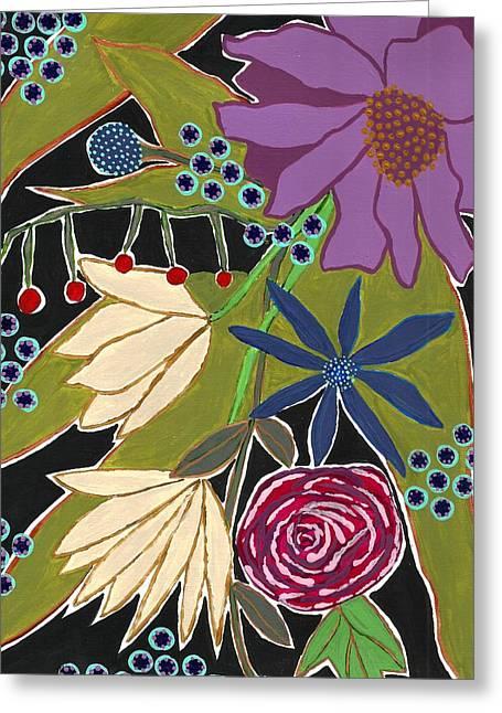 Lisa Noneman Mixed Media Greeting Cards - Flower Bouquet Greeting Card by Lisa Noneman